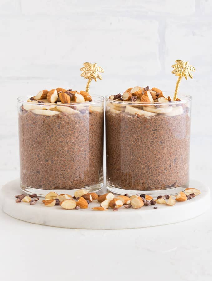 two cups of chocolate chia pudding