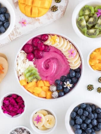 pitaya smoothie bowl with mango, blueberries, and banana
