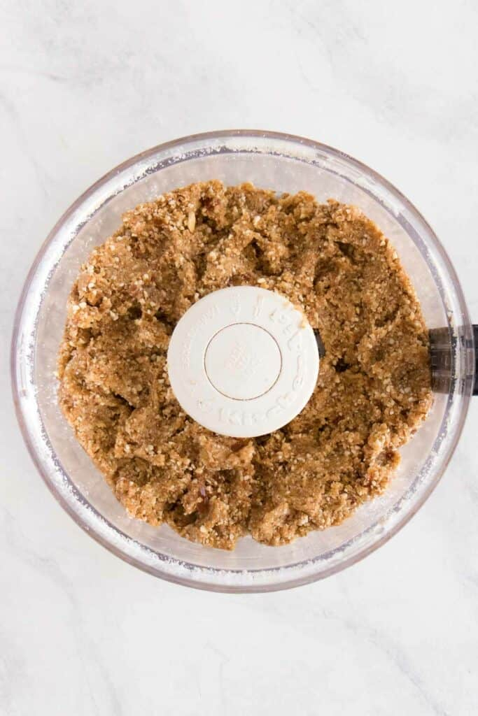 raw cookie dough in a food processor
