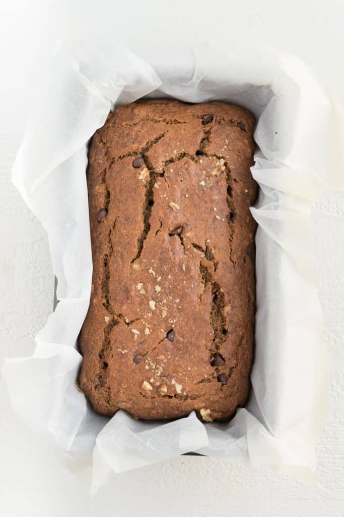 baked banana bread inside a loaf pan