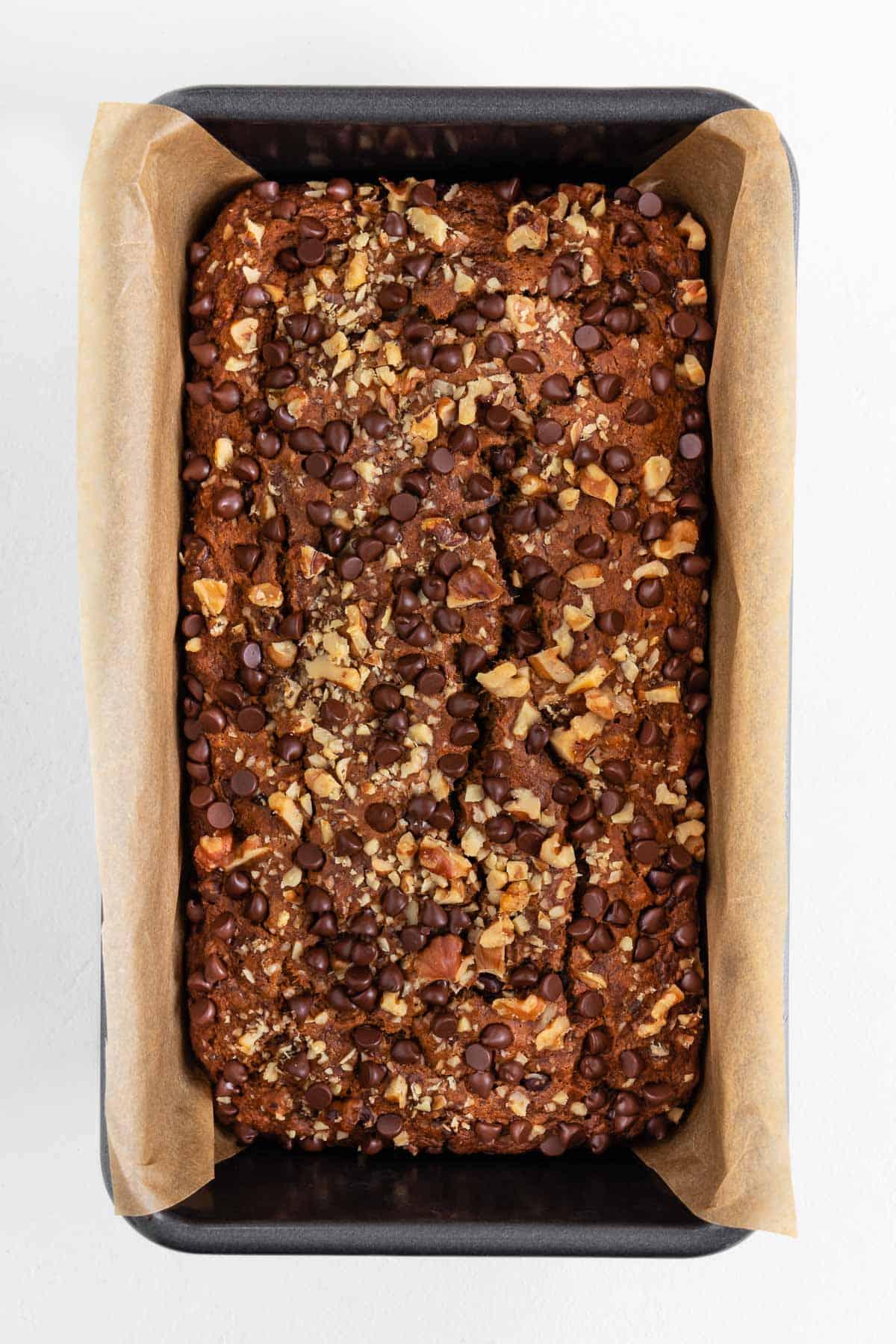 baked vegan gluten-free banana bread inside a loaf pan