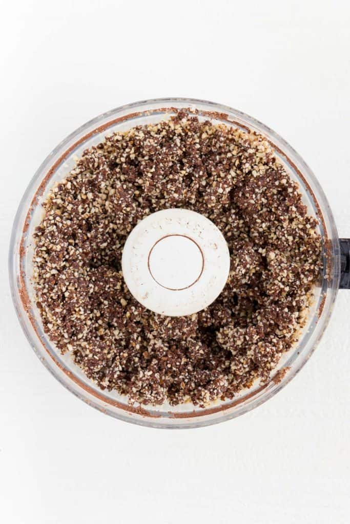 no bake cheesecake crust inside a food processor