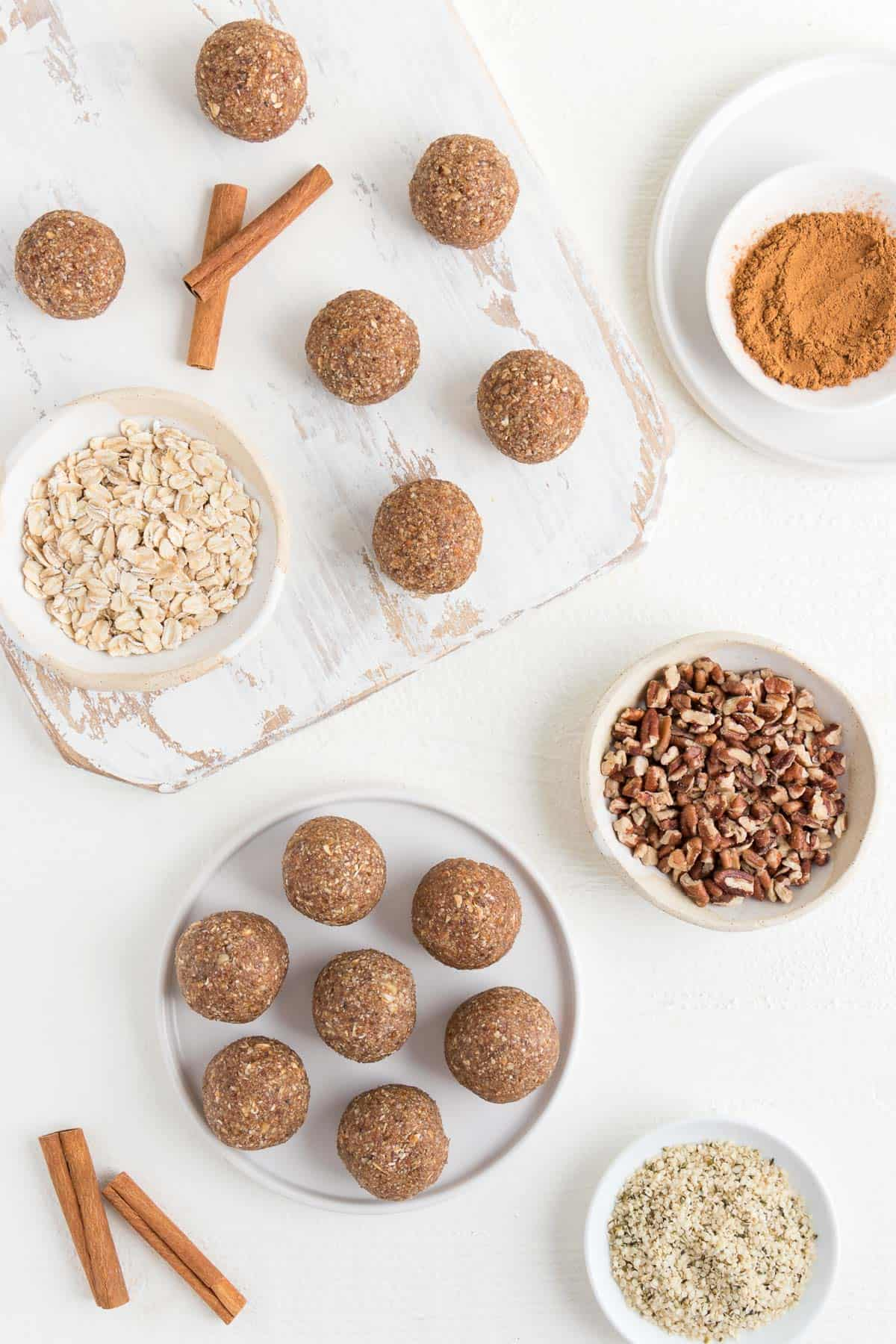 pecan pie bliss balls with rolled oats, pecans, cinnamon, and hemp seeds