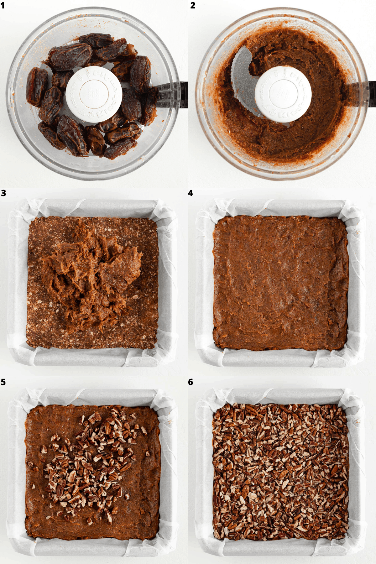 a six image collage showing dates being blended in a food processor, then spread over the crust inside a baking dish