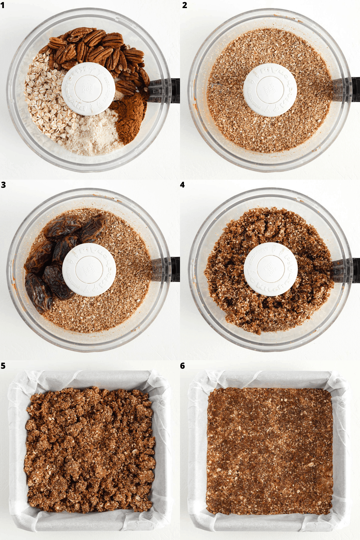 a six part photo collage showing oats, pecans, almond flour, cinnamon, and dates being blended in a food processor, then pressed against the bottom of a baking dish