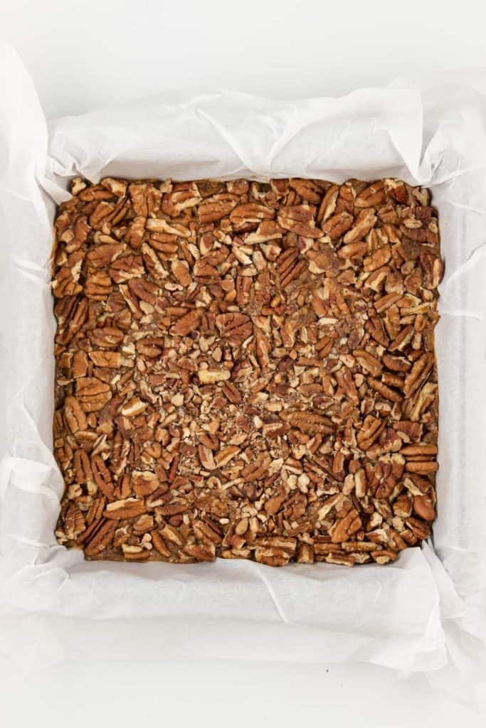 crushed pecans inside a square dish