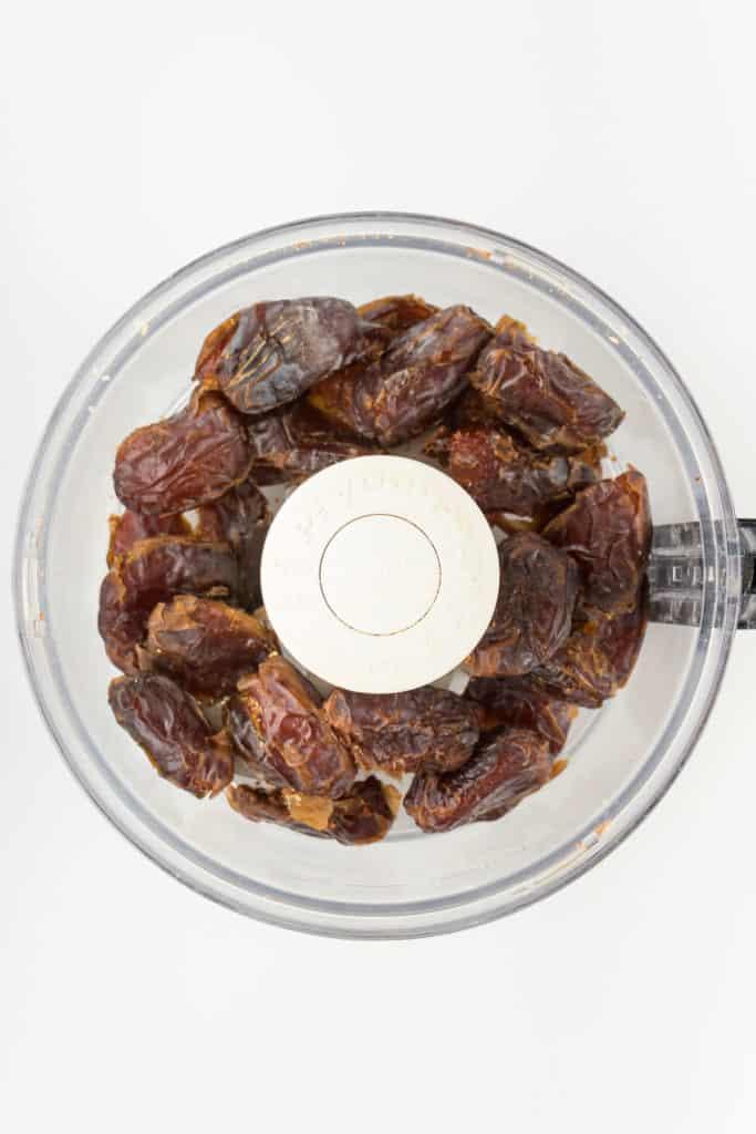 medjool dates inside a food processor