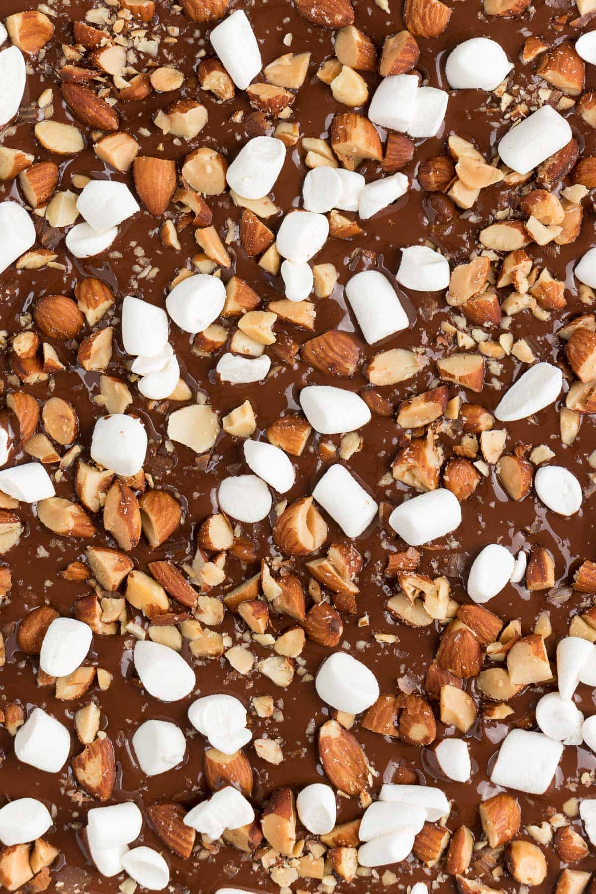 melted chocolate topped with mini marshmallows and chopped roasted almonds