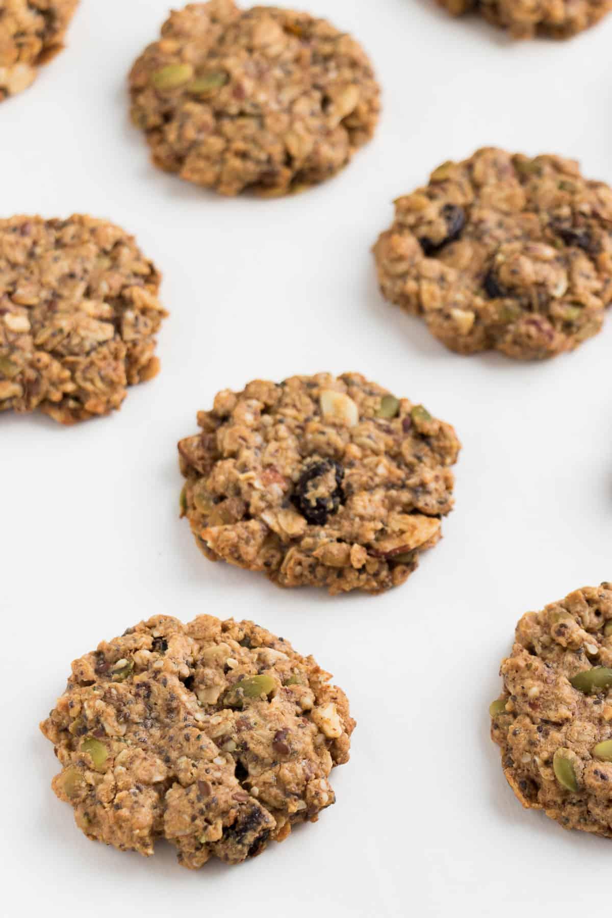 vegan superfood breakfast cookies on a white surface