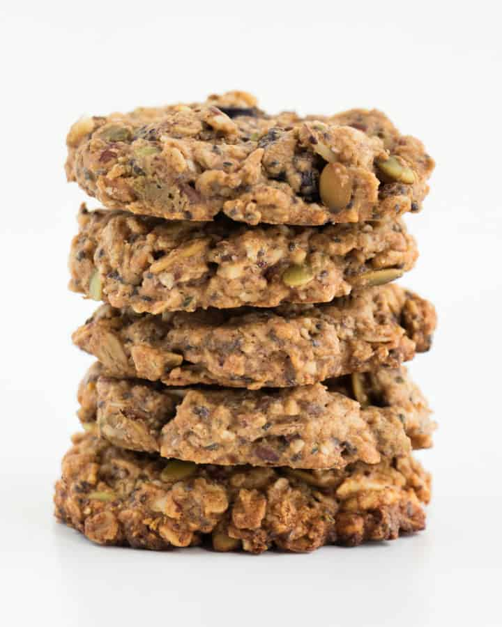 five superfood breakfast cookies stacked on each other