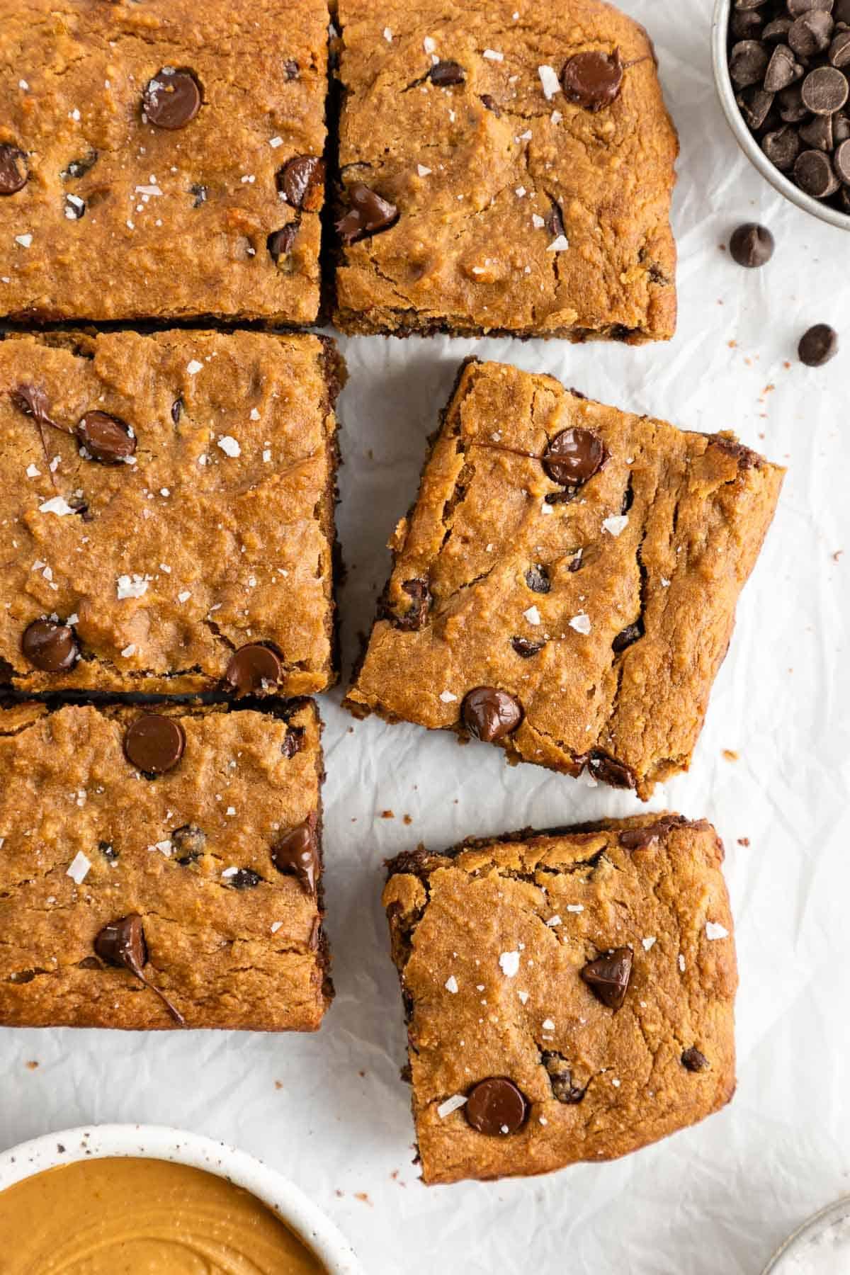vegan gluten-free chocolate chip banana blondie bars