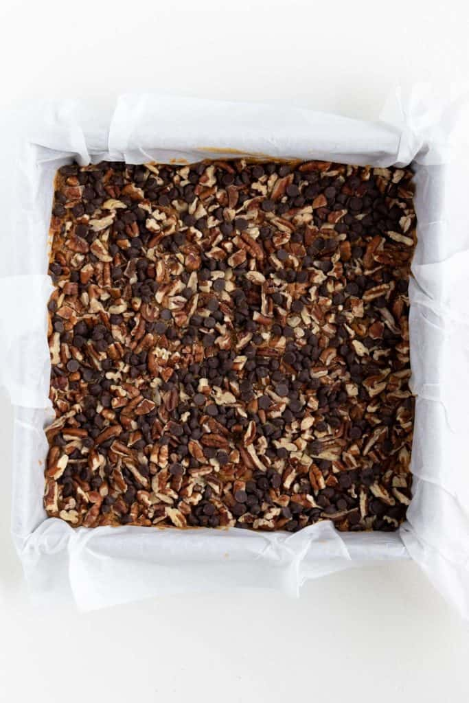 no-bake vegan turtle brownies in a square baking dish