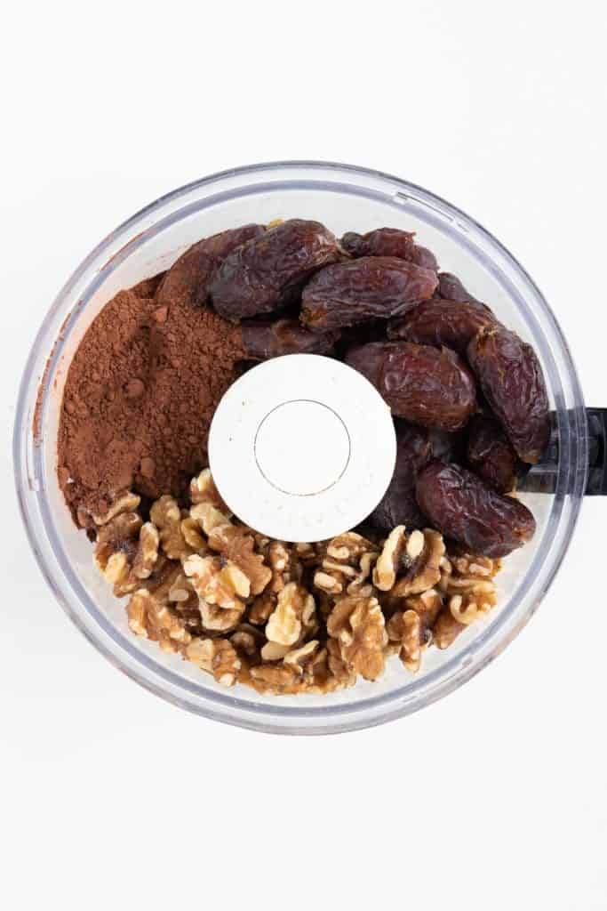 medjool dates, walnuts, and cocoa powder in a food processor