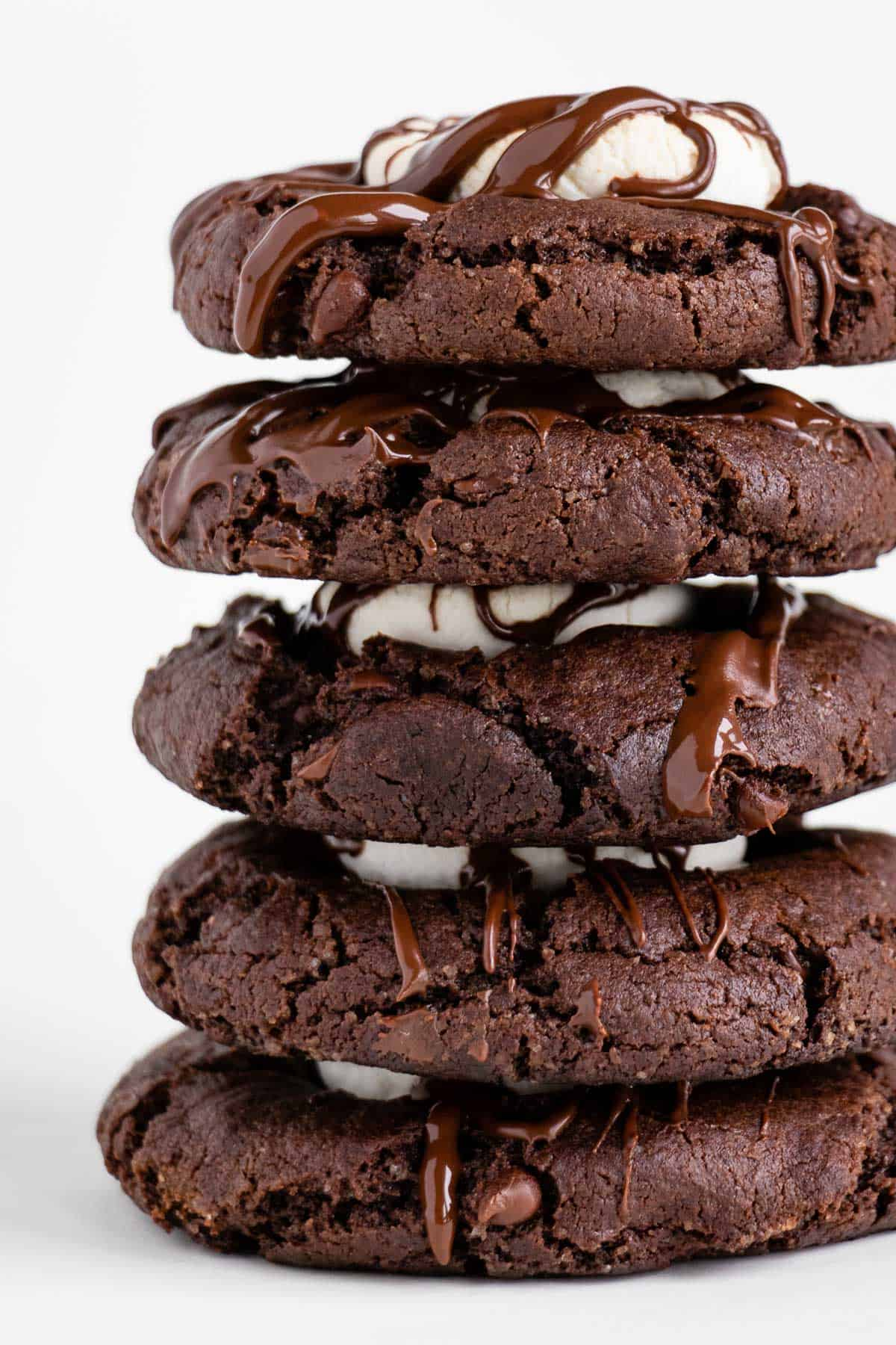 a stack of five vegan hot chocolate marshmallow cookies