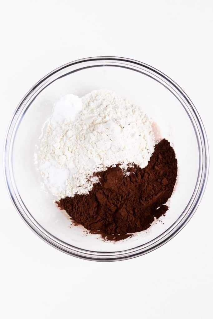 flour, cocoa powder, baking powder, and salt in a glass bowl