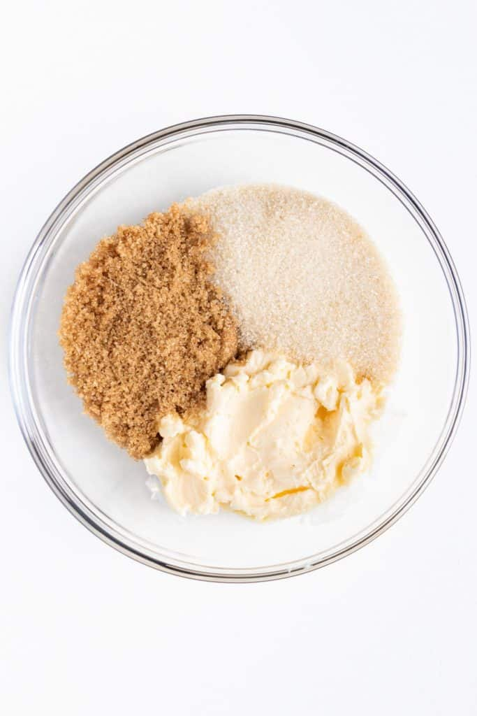 light brown sugar, vegan butter, and white cane sugar inside a glass bowl