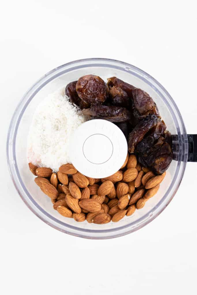 almonds, medjool dates, and shredded coconut in a food processor