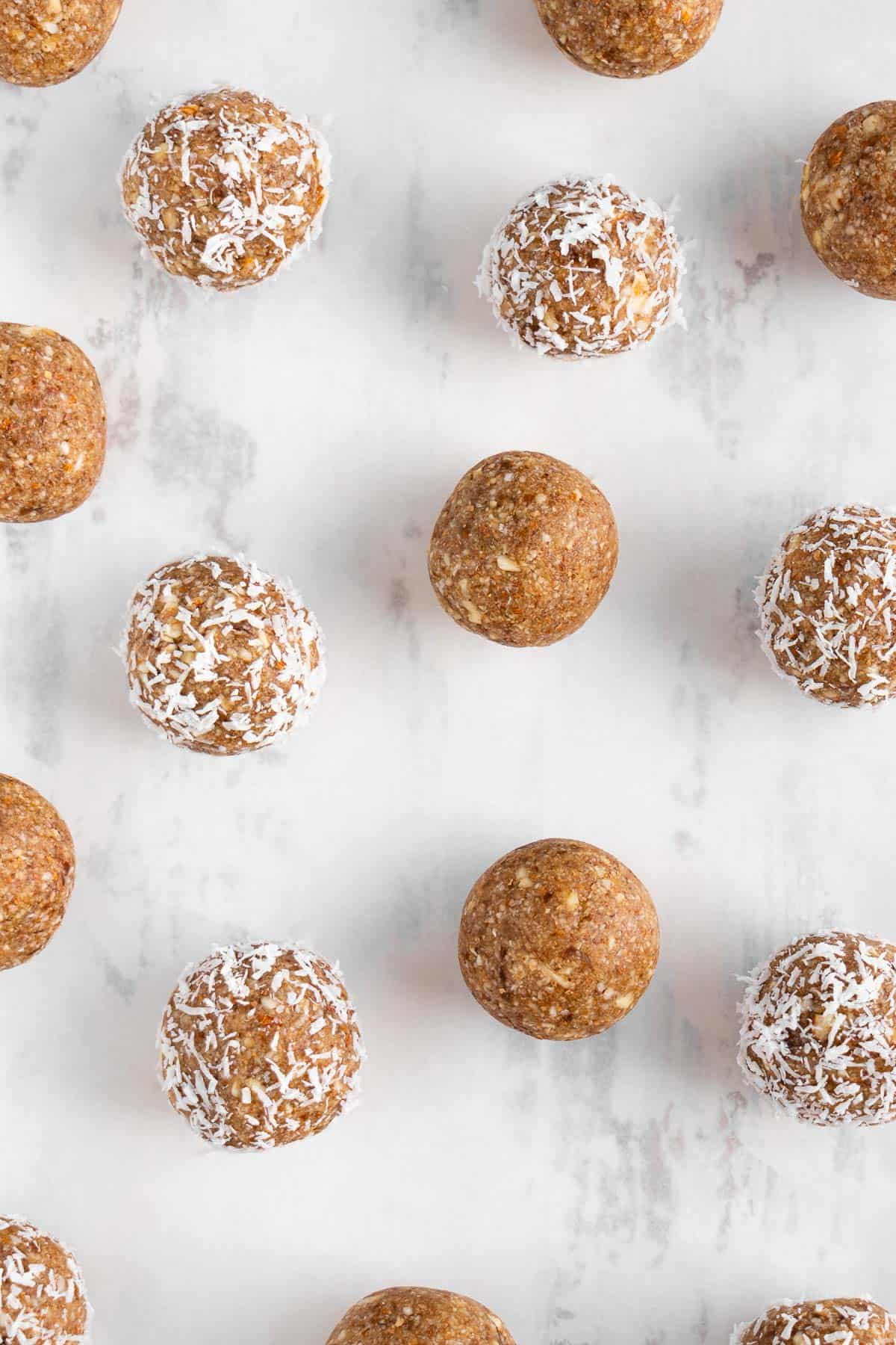 energy balls on a white surface