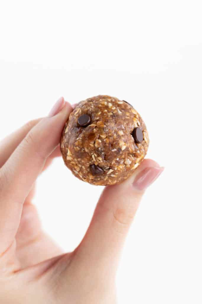 a hand holding an oatmeal cookie dough ball