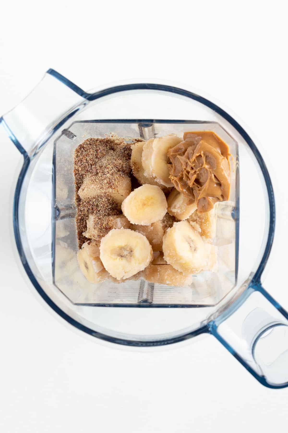fruit and nut butter ingredients inside a blender