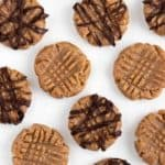 no bake almond butter cookies on a white surface