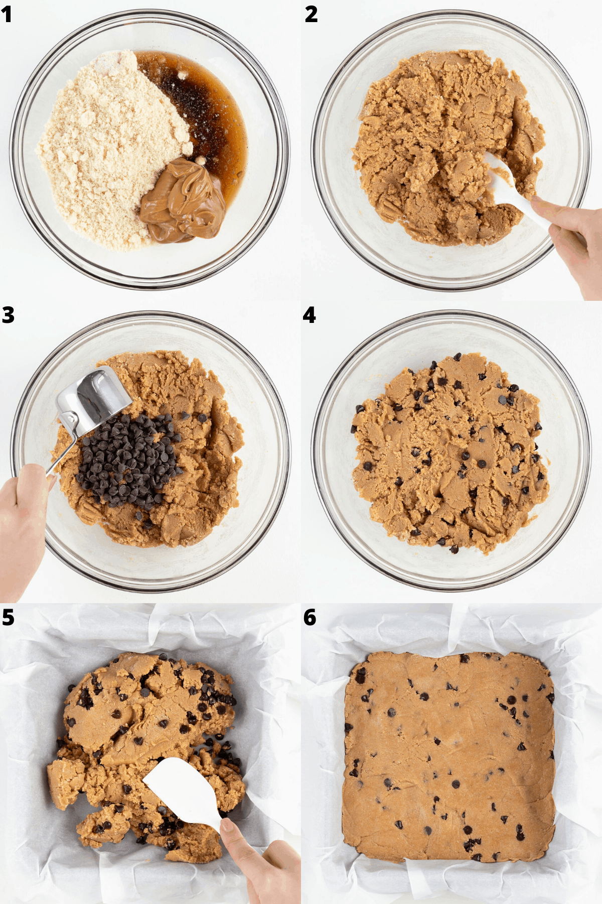 a collage of six step-by-step images showing the process of mixing ingredients in a glass bowl and pressing the dough into a square baking sheet