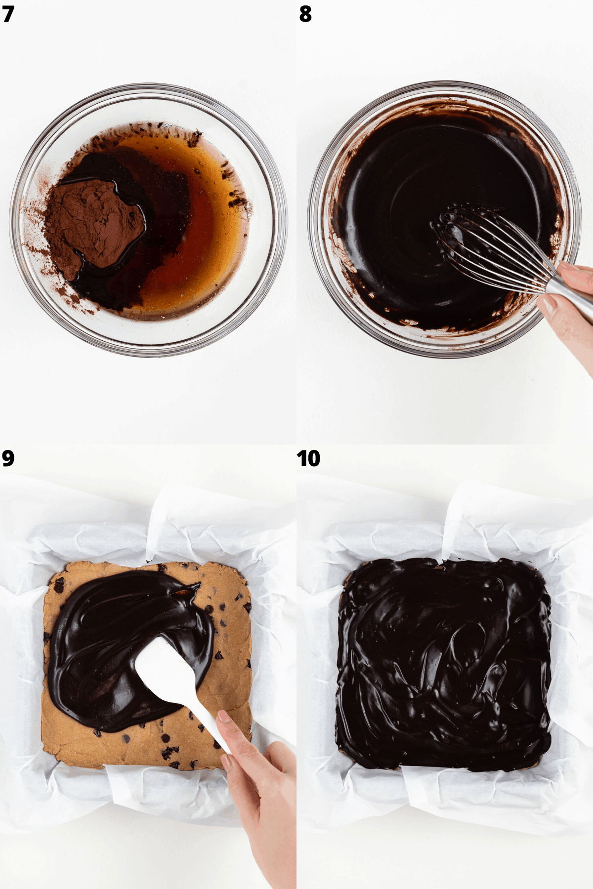 a collage of four step-by-step images making chocolate frosting and spreading it on top of a square baking pan