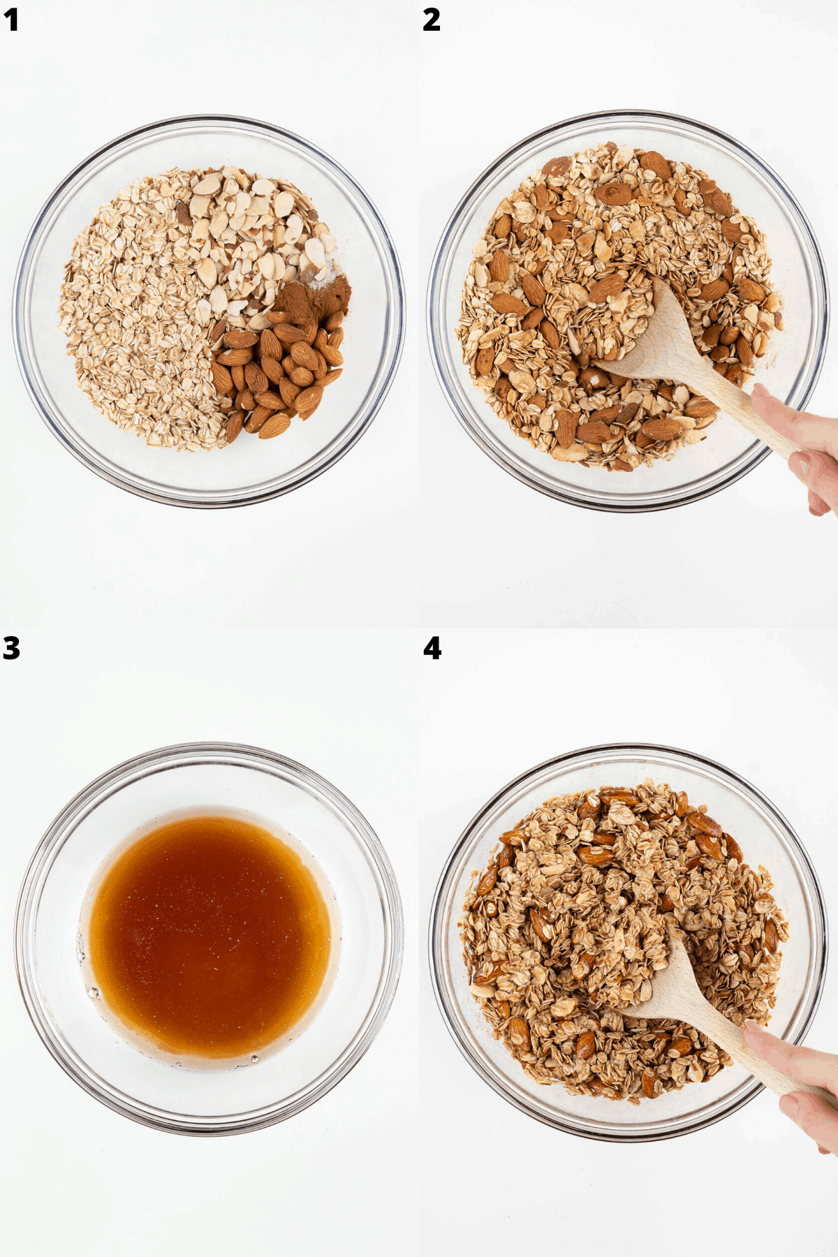 a collage of four images showing the step-by-step process of mixing ingredients in a glass bowl