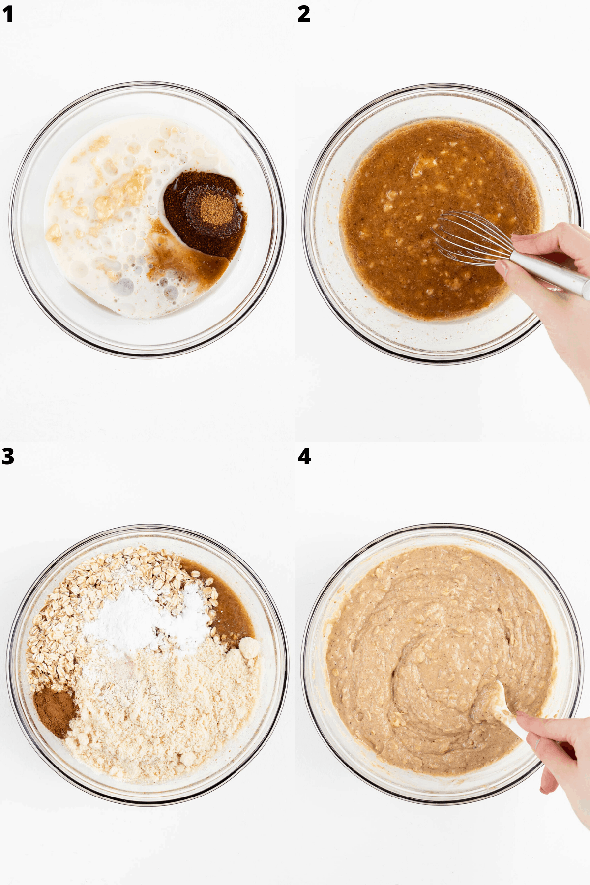 step by step mixing batter in a glass bowl