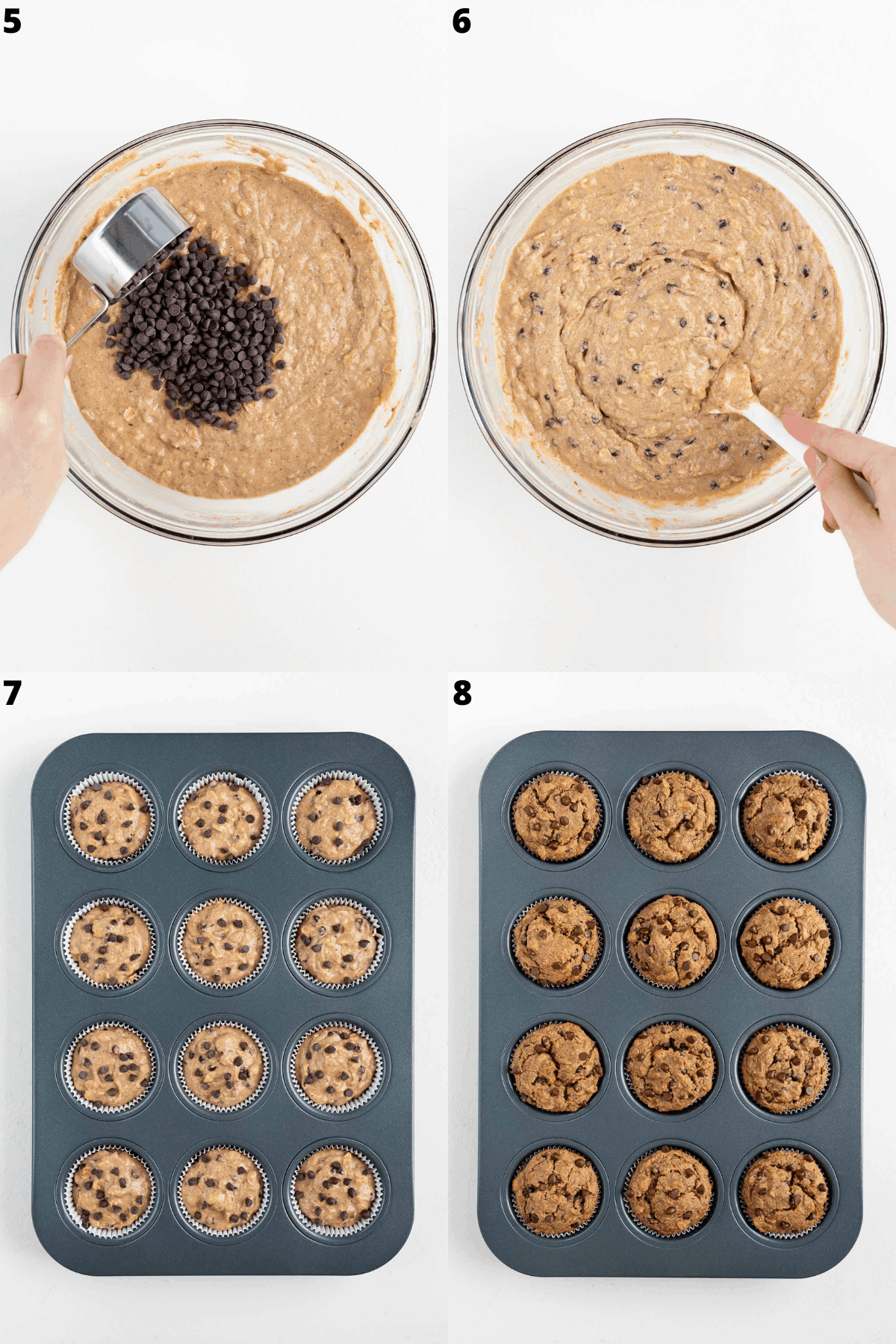 step by step mixing batter and adding batter to a baking tin