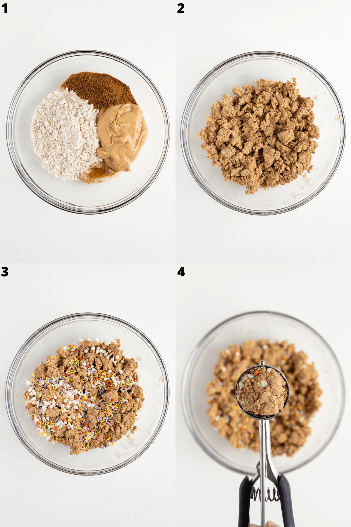mixing oat flour, cashew butter, coconut sugar, and vanilla extract together in a glass bowl