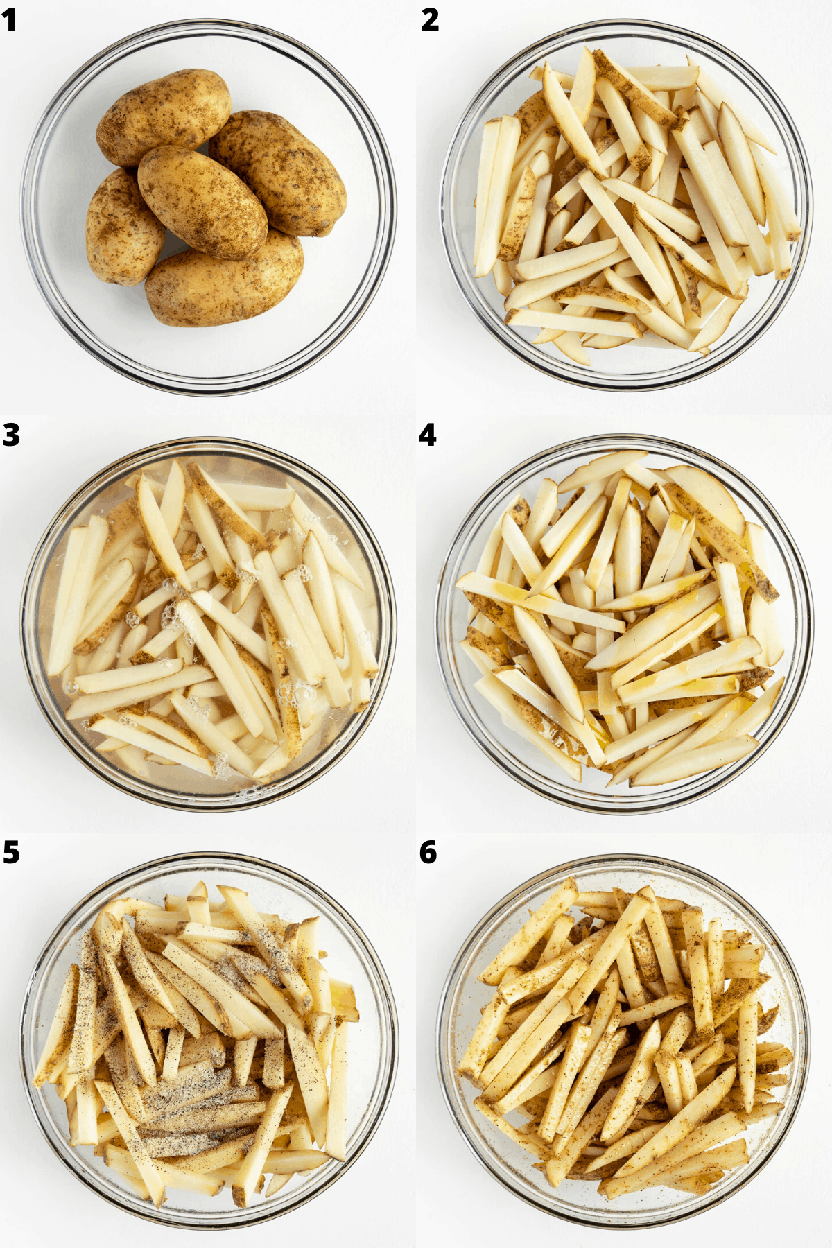 a six image collage preparing french fries step-by-step in a glass bowl