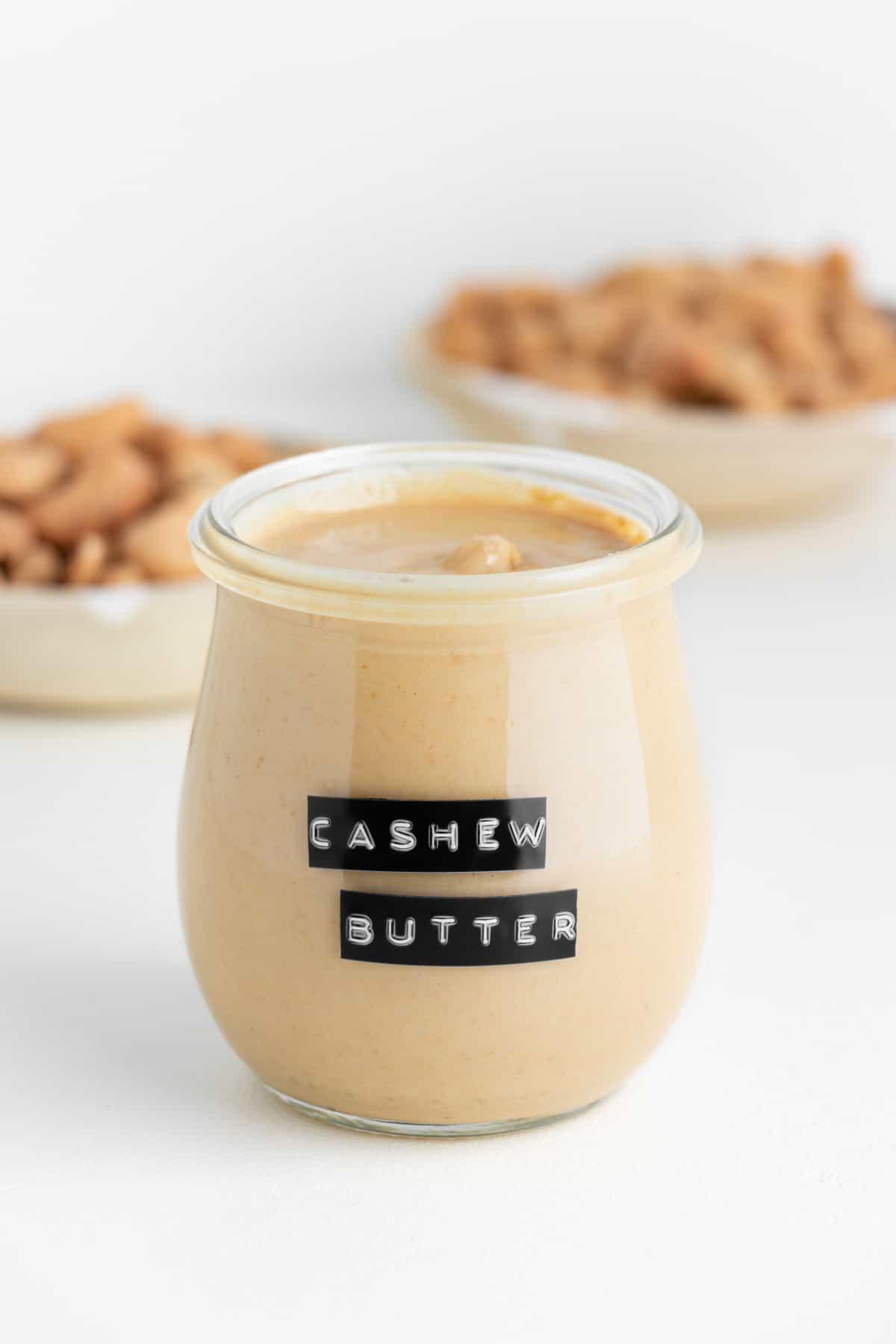 homemade cashew butter inside a glass weck jar