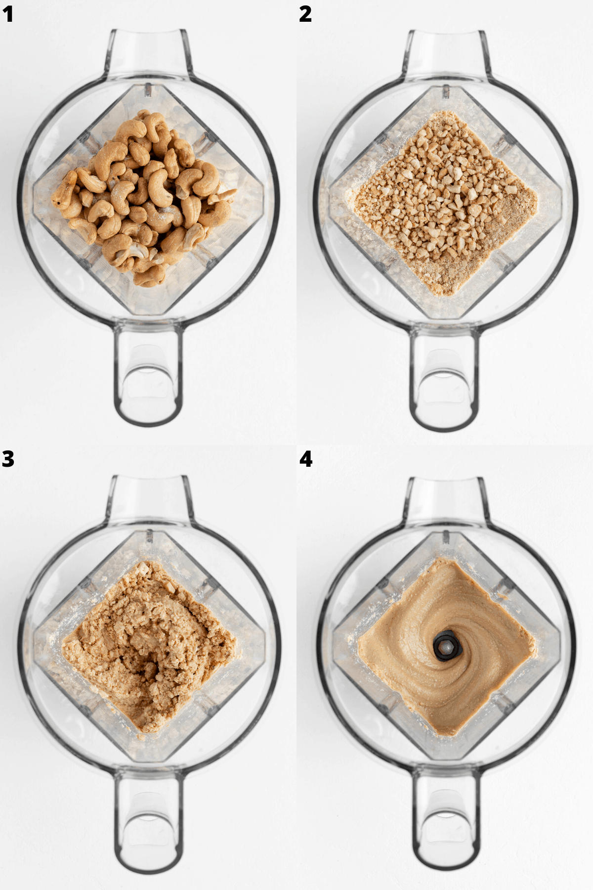 four part collage blending nuts inside a vitamix blender
