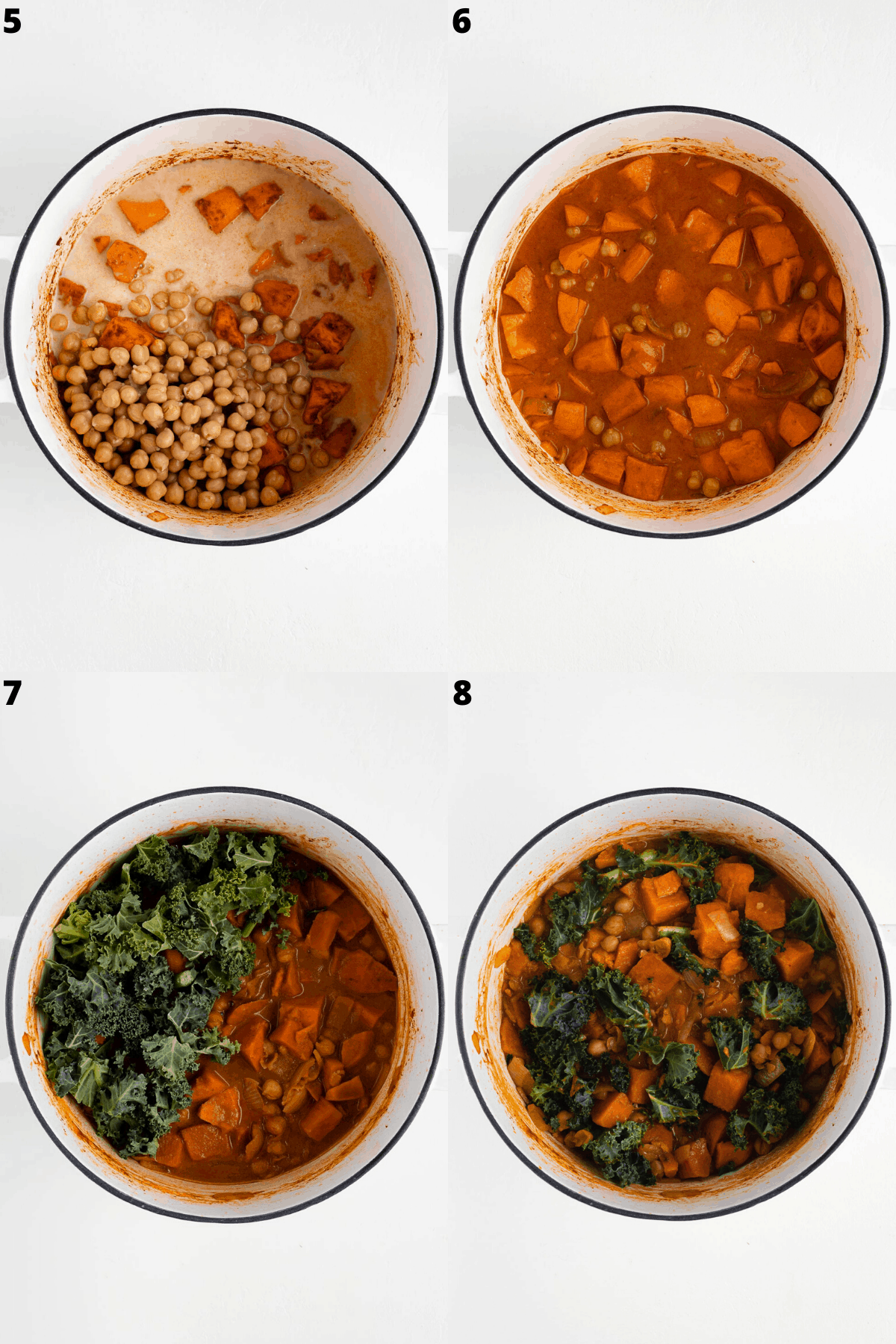 step by step process of sweet potato curry with chickpeas and kale being cooked in a white sauce pot