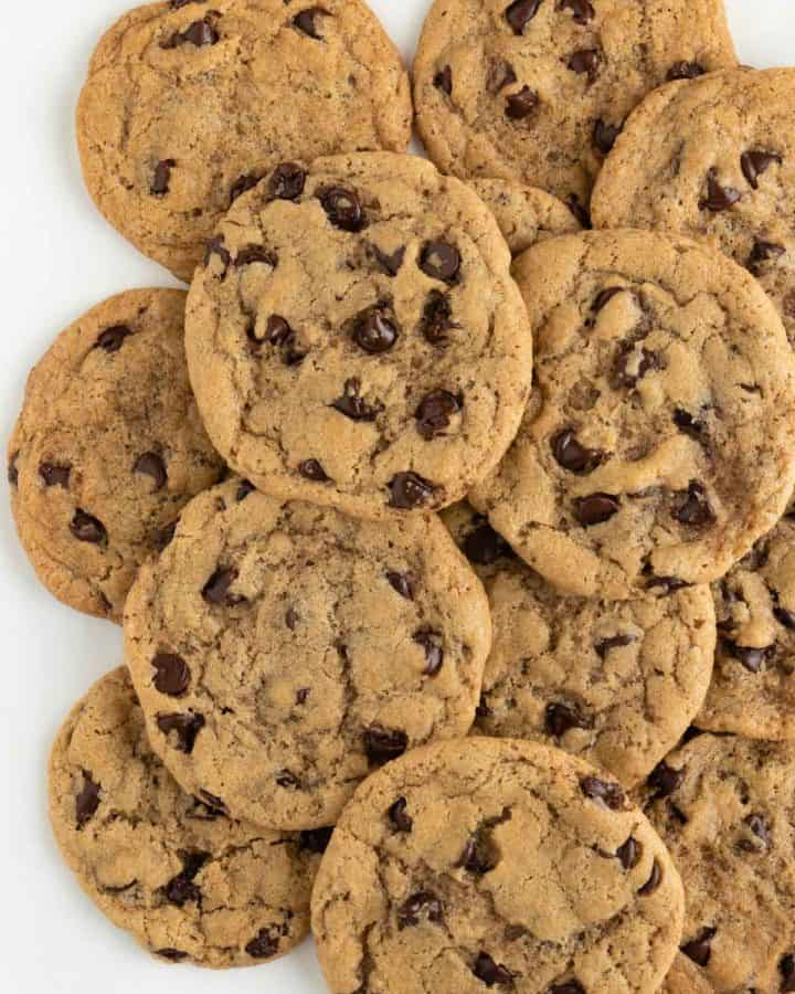 a pile of vegan chocolate chip cookies