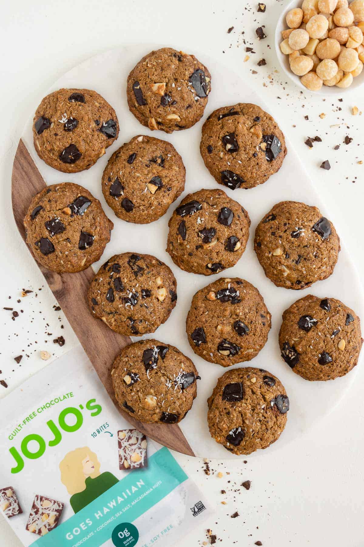 vegan gluten-free chocolate chunk hawaiian cookies on a marble board