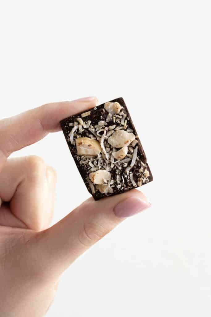 hand holding a square of chocolate topped with shredded coconut and macadamia nuts