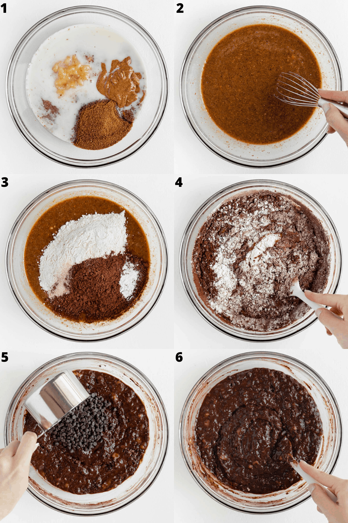 a photo collage of the step by step process mixing the batter together