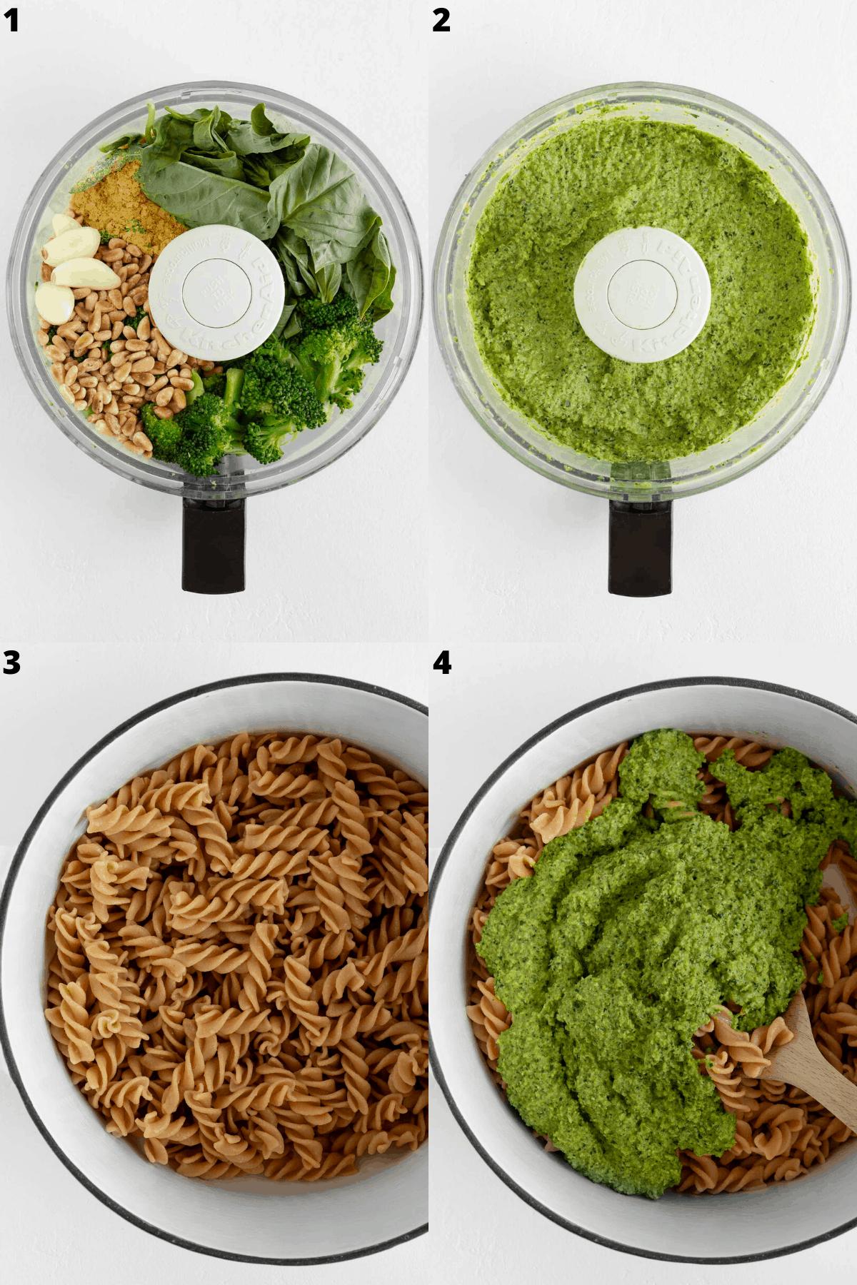 broccoli pesto in a food processor then poured over pasta shells