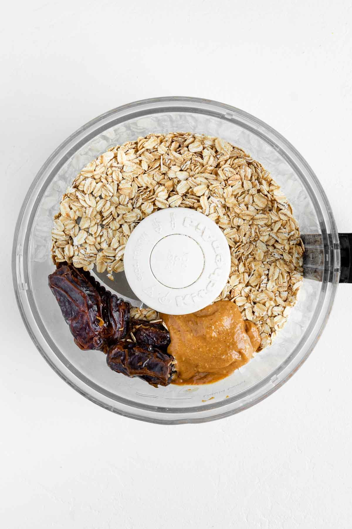 oats, dates, and peanut butter in a food processor