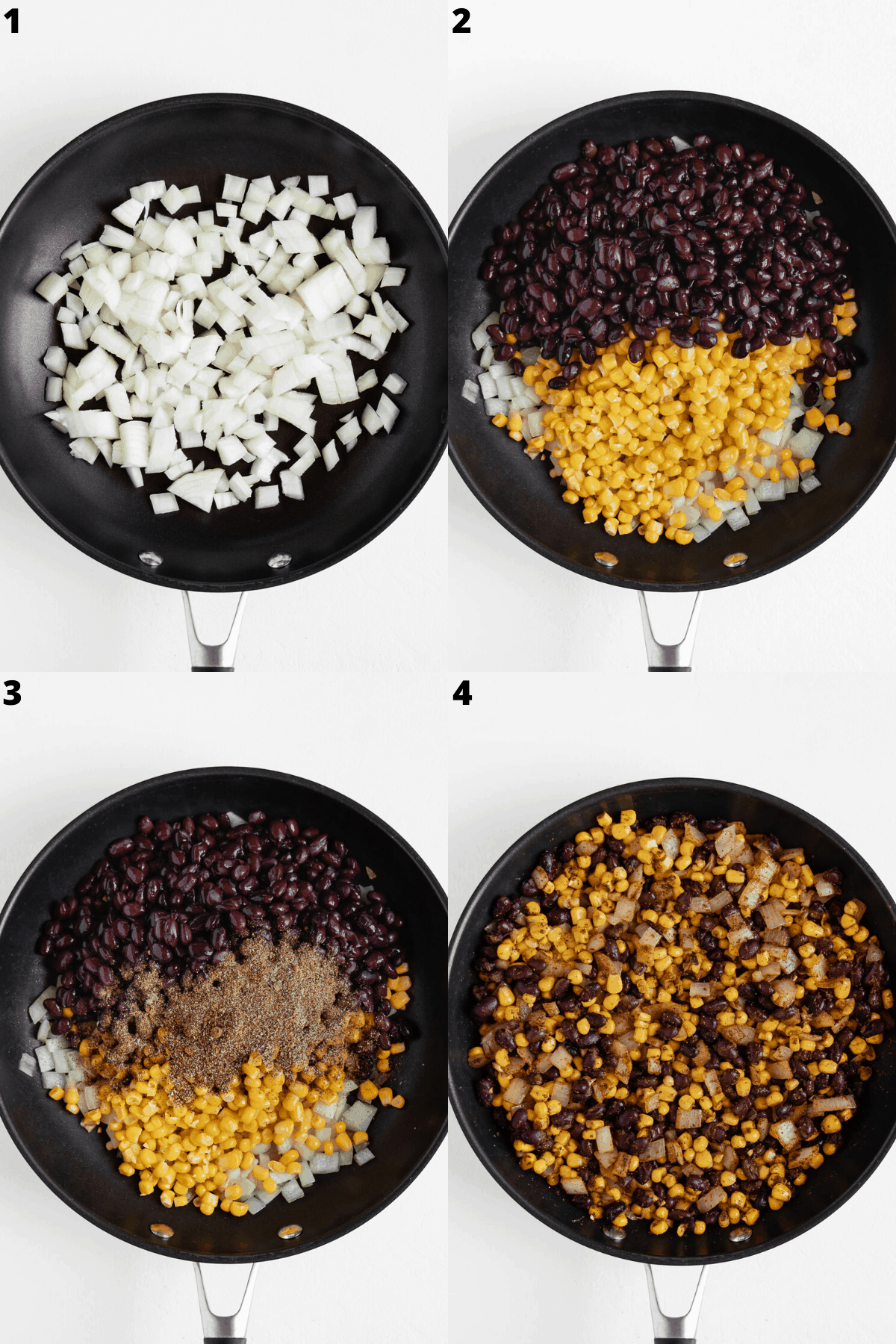 a four step collage cooking diced onions, black beans, corn, and spices on a black skillet