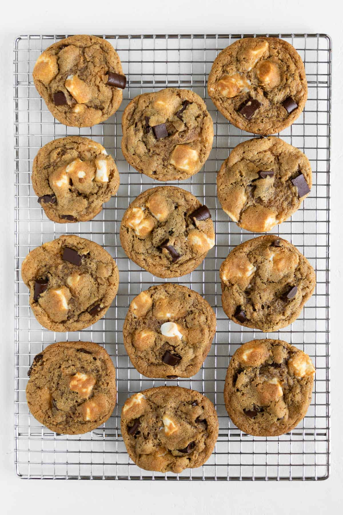 vegan s'mores cookies on a metal cooling rack