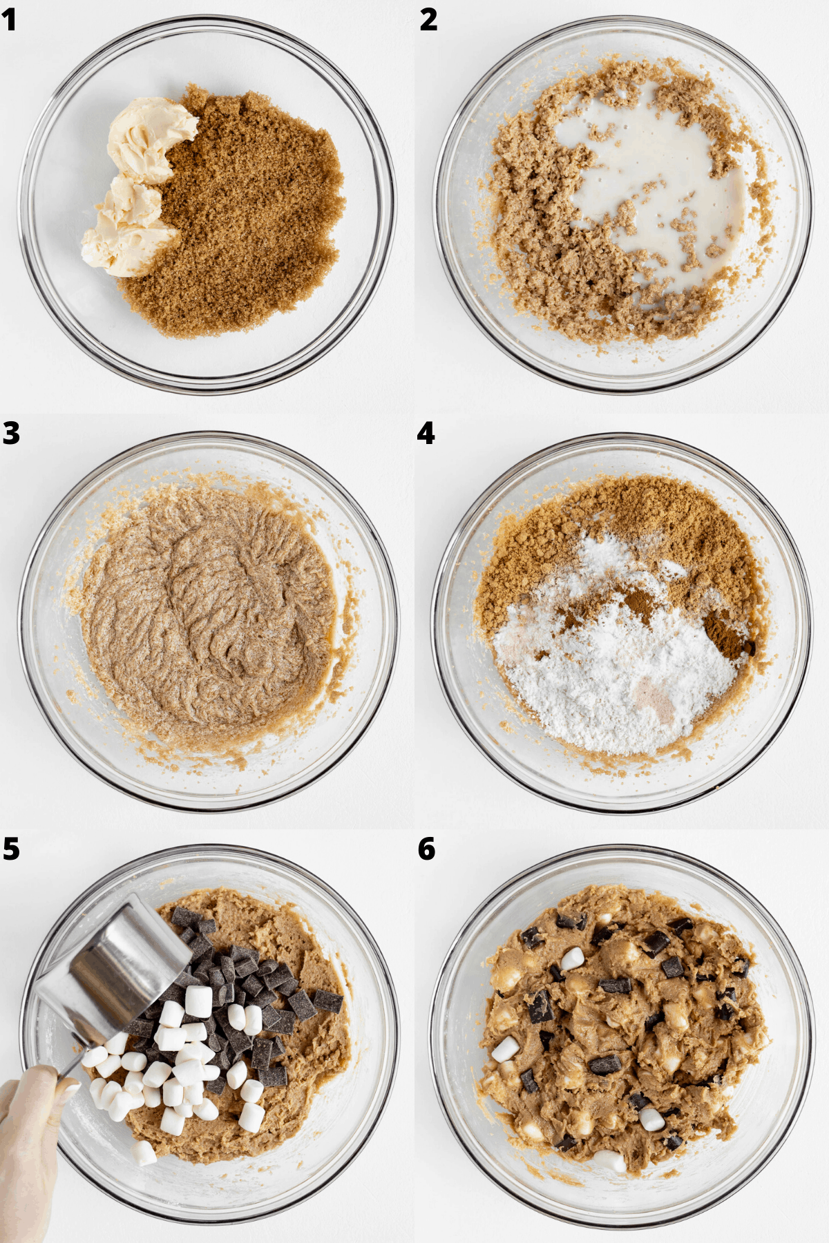 a six part photo collage showing the process of preparing vegan s'mores cookie dough