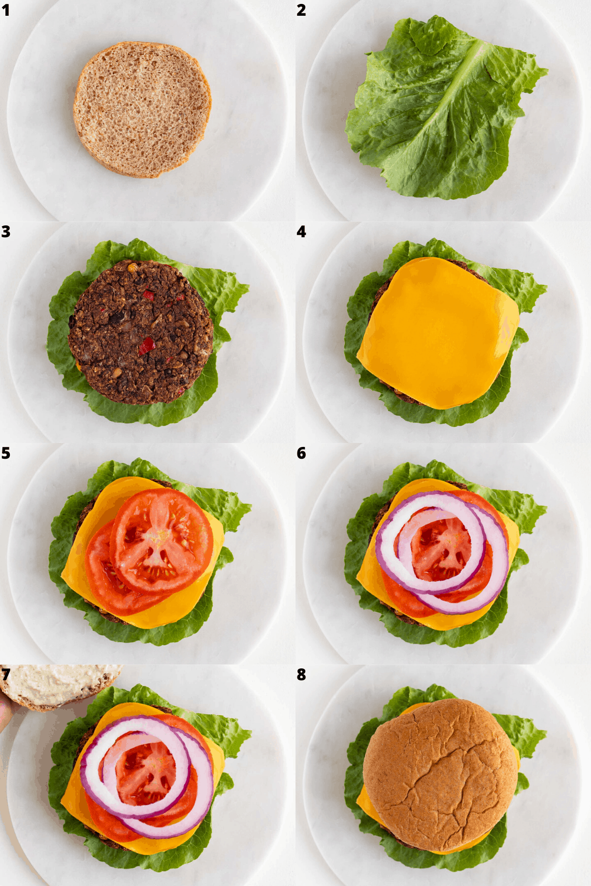 a step by step photo collage constructing a vegan black bean burger