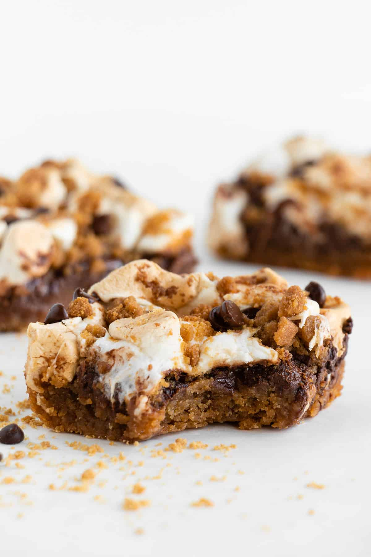 a vegan s'mores bar with a bite taken out of the center