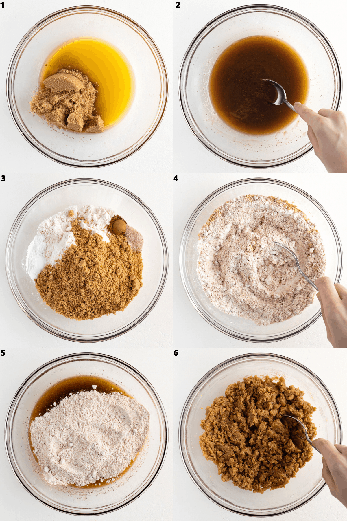a six part photo collage mixing cookie dough in a glass bowl