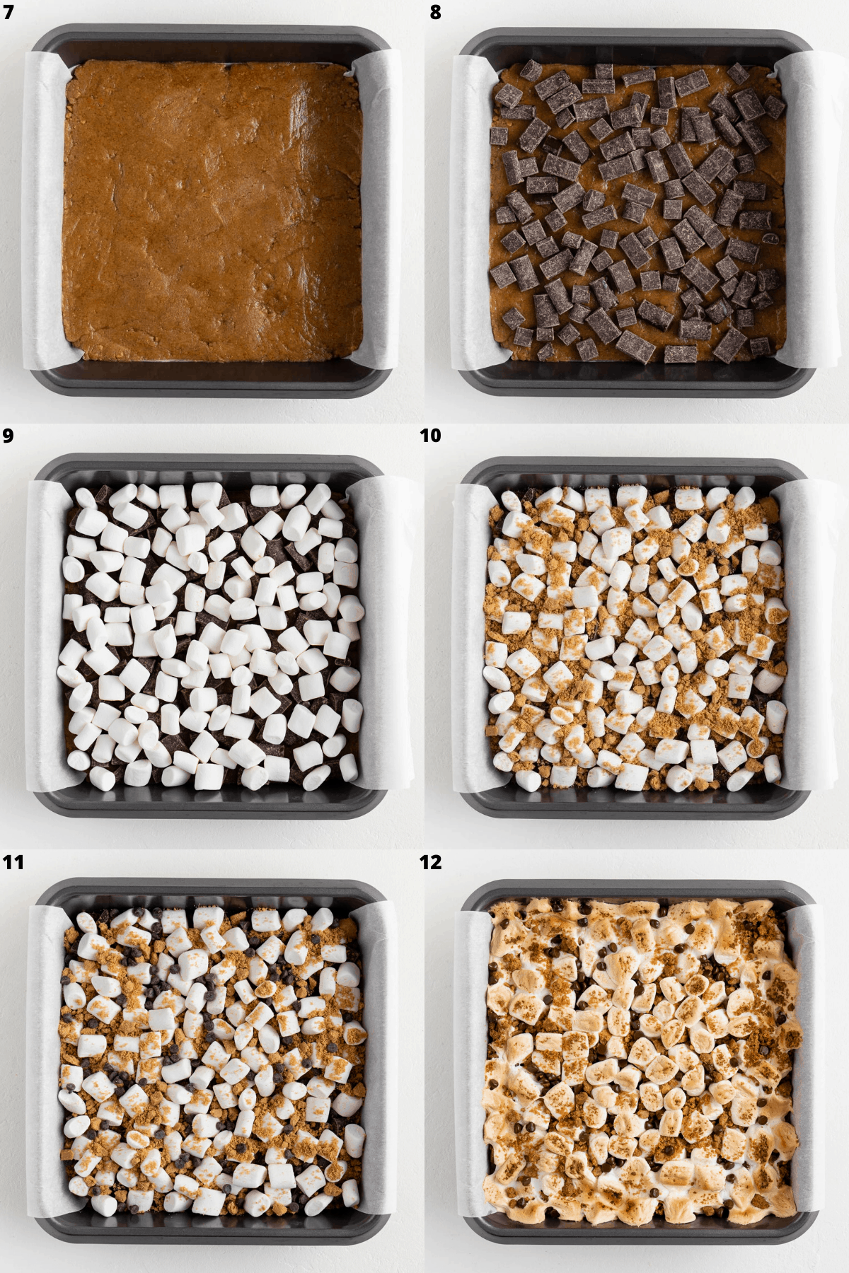 a six part photo collage adding layers of smores cookie bars in a square baking pan