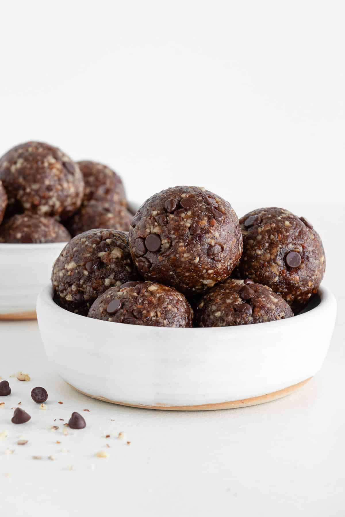 turtle energy balls stacked inside two small white bowls