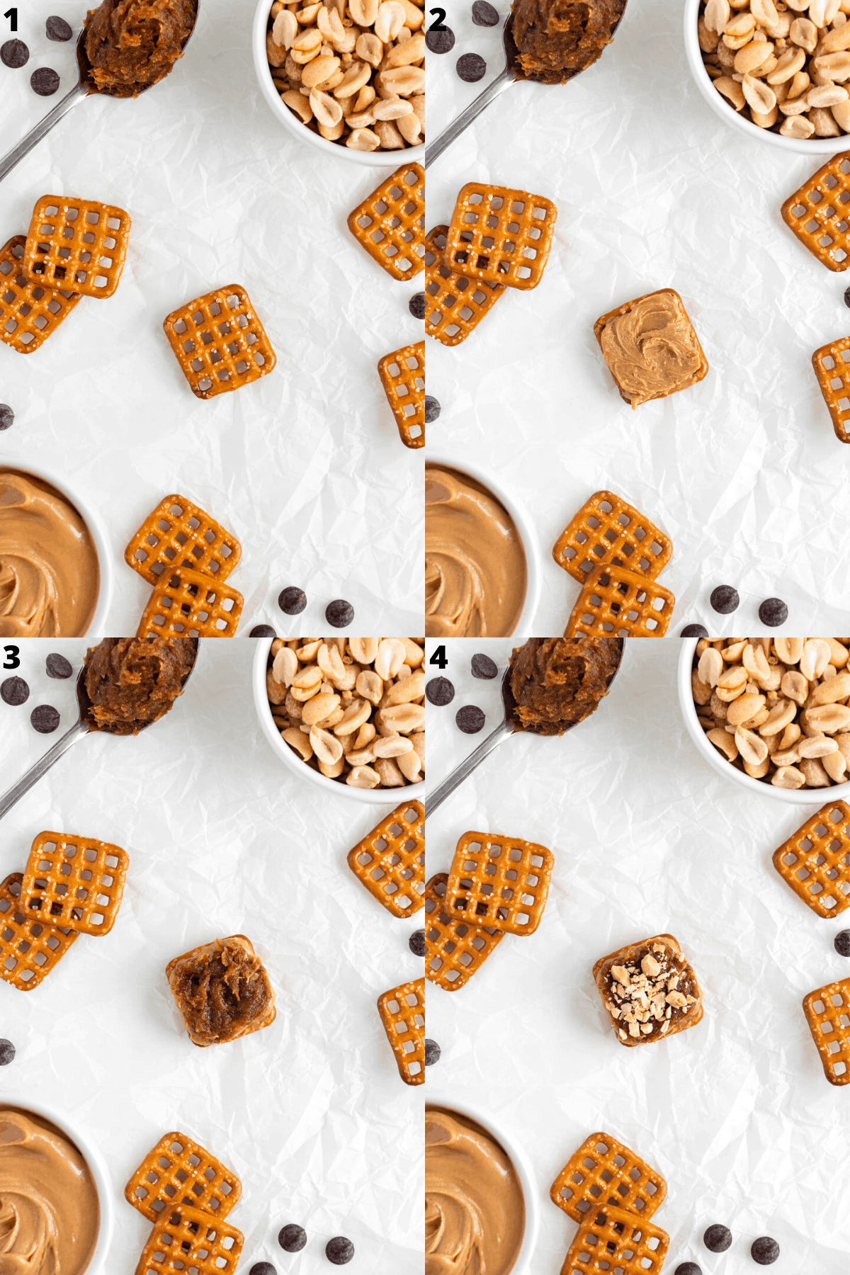 a four image collage of the step-by-step process covering a snap pretzel with peanut butter, date caramel, and crushed peanuts